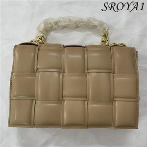 Bolso de cadena gruesa 2021 tejido de cuero suave diagonal de un hombro pequeño bolso cuadrado