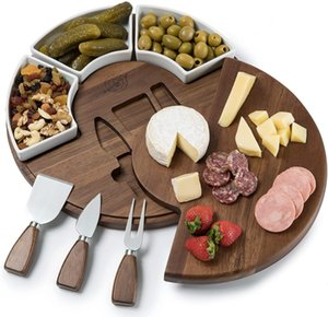 Shanik Upgraded Cheese Cutting Board Set, Acacia Wood Charcuterie Board Set Platter Perfect Meat Cheese Board and Utensil Set Ceramic Bowls Wine Server Plates CS28