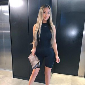 Casual Solid Sportswear Short Jumpsuits Women Elastic Hight Sleeveless Skinny Jumpsuit Summer Basic One Piece Overall
