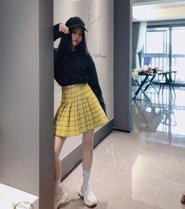 Skirts Summer Women Harajuku Fashion Big Size Yellow Blue Pleated Skirt High Waist Streetwear Girls Punk A-line Mini XS-5XL