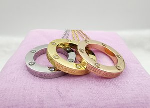 Ring pendant Love Necklace with 18k Gold Plated 6 Diamond designer necklaces for Lovers Wedding or Special birthday gift
