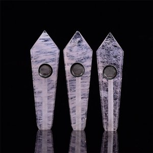 Natural Smoking pipe Crystal Stone pipes For Smoke Tobacco Quartz healing HandPipe & Carb Hole Gemstone silicone nectar collector glass bowls