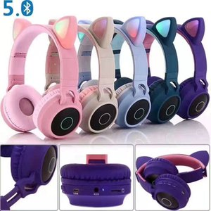 5.0 Bluetooth CAT heavy bass stereo earphones wireless and wired freely switched denoise foldable portable headphone
