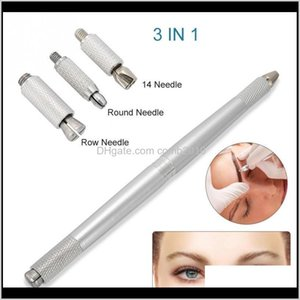 Guns Kits Tattoos Body Art Health Beauty Drop Delivery 2021 3 In 1 Professional Dualend Microblading Pen Manual Liner Fog Eyebrow Permanent M