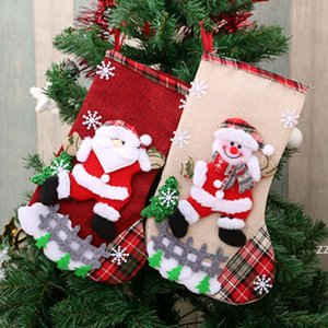 Christmas Tree Stocking Elk Bear Snowman Pattern Santa Claus Gift Candy Sock Bag Pendant Xmas Decoration Trees Hanging Stockings HWF10422