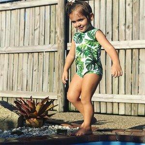Dejar traje de baño Niños Baby Girls Green Tankini Bikini Traje de baño Traje de baño Verano Verano Lindo Dos piezas o Set de una pieza Ropa 189 Z2