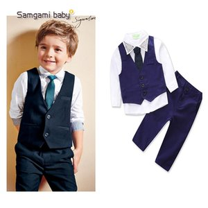 Kids Boy Gentleman Suits Ins Baby Clothes Pullover Necktie Vest Neckline Emboss Studs Collar Spring Autumn Boutique Clothing Sets