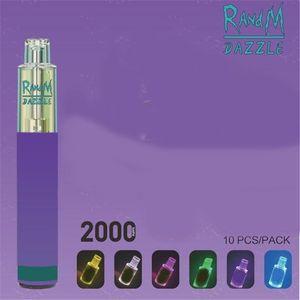 Original Factory RandM Dazzle Disposable E cigarette R and M Vape 2000puffs RGB Light Glowing