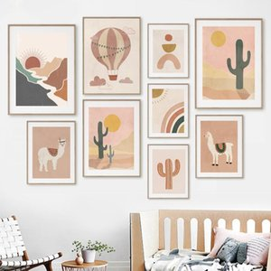 Llamas Rainbow Sun Cactus Abstract Landscape Boho Nursery Wall Art Canvas Painting Posters And Prints Pictures Kids Room Paintings