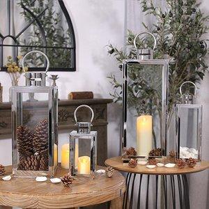 Candle Holders Hanging Glass Holder Set Silver Luxury Tea Light Lanterns Modern Bougie Mariage Dining Table Decor DL60ZT