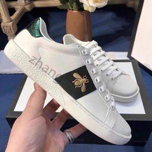 TOPT Quality Mens Womens Bee Serpiente Tigre Casual Zapatos de cuero genuino Bordado Entrenadores clásicos Python Bordado Lover Sneakers