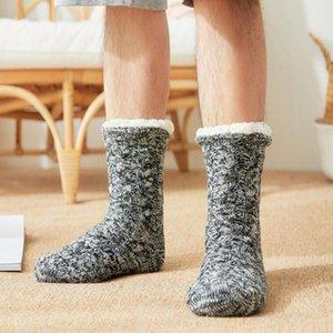 Men's Socks Winter Indoor Floor Sock Thick Warm Cotton Lined Fleece Non-slip For Men Fluffy Carpet 2021 Thermal W9x3
