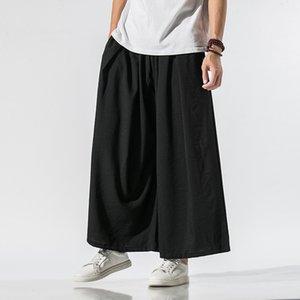 5 Цветов Японский стиль хип-хоп брюки мужчины летние уличные одежды длина лодыжки широкие брюки ноги свободные Fit M-3XL льняные брюки человека XXXL