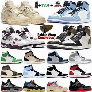 Con caja Air Jumpman 1 Zapatillas de baloncesto University Blue Travis Scotts Dark Mocha 1s Zapatillas de deporte para hombre 4 4s Sail Bred Zapatillas de deporte retro para mujer