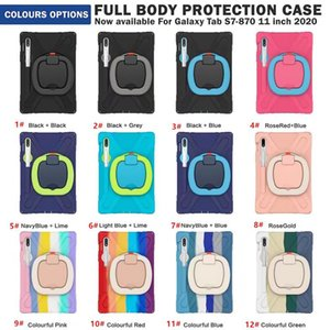 Hybrid Silicone Hard tablet Case With Stand Holder Shoulder strap for samsung Tab S7 11 inch T870 T875 A7 10.4inch T500 T505 T507 S6 Lite 10.4 P610 P615