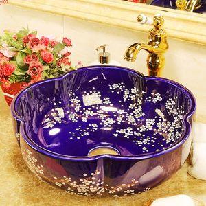 Europe style Handmade Lavabo Ceramic Washbasin Artistic Bathroom Sink Countertop wash basingood qty