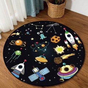Carpets Cartoon Space Planet Pattern Round Carpet Rugs For Children Rooms Modern Home Decor Tapetes Para Sala De Estar T330
