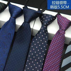 ShennaiHei Moda 5,5 cm Corbatas para hombre Corbatas de cremallera Tipo de poliéster TIETE TIE1