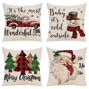 45*45cm Christmas Tree Santa Claus Snowman Pillow Case Xmas print Throw Cushion Cover Home Sofa Decor Pillowcases 4 styles Z4300