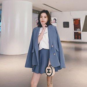 Women's Suits & Blazers Heydress 2021 Retro Plaid Women Two Piece Set Double Breasted Long Sleeve Blazer Elastic Waist Pleated Skirts Fashio