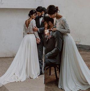 2021 Два куска Boho Beach Свадебные платья линия сексуальная без спинки с длинным рукавом с длинным рукавом.