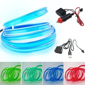 Strips EL Wire Cuttable Neon Lights Dance Party Decor Light Glowing Electroluminescent For Parties Halloween Car DIY Decoration