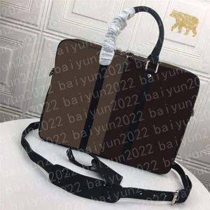 High Quality men Business briefcase Crossbody Men's classic Handbag Fashion messenger Shoulder Bag man's Black Brown Leather Laptop Man attache case Computer Bags 23