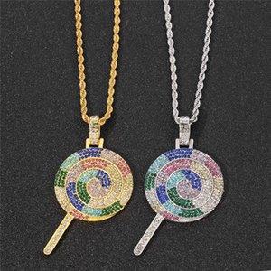Хип-хоп сплава Bling Multicolor Lollipop ожерелье подвеска для мужчин рэпер ювелирные изделия мода подарок оптовые цепи