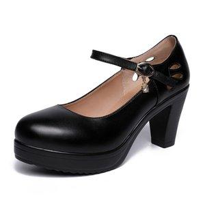 Gran tamaño con un solo zapato de espeso con la cabeza redonda Plataforma impermeable zapatos de boda roja modelo cheongsam show zapatos mujeres 210506