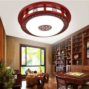 Vintage Chinese Sculpture Red Wood LED Ceiling Light Fixture Home Deco Living Room Round Antique Acrylic Lamps 110-240V Lights