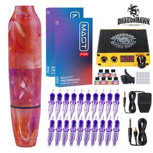 Dragonhawk Tattoo Kit Rotary Motor Pen Power Supply Cartridges Needles D3017-6