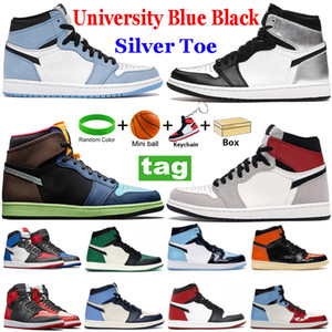 Top Qualität 1 Herren Basketballschuhe 1s High Dark Mokka Twist UNC Chicago Roral Tehe Mid Light Smoke Grey Sport Sneakers Trainer
