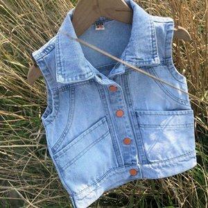 Vest 1-8T Baby Vests Boys Girls Jeans Babe Jacket Denim Waistcoats Outerwear Children Clothing Spring Autumn Clothes Kids Tops
