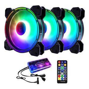 Вентиляторы Охлаждения Coolmoon RGB HASSIS Вентилятор, 12см бесшумный внутренний и внешний свет + музыкальный контроллер Настольный охлаждающий вентилятор CPU (3 шт)