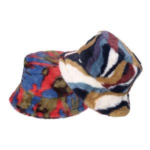 Fisherman Hat New Outdoor Multicolor Rainbow Faux Fur Letter Pattern Bucket Hats Women Winter Soft Warm Gorros Mujer