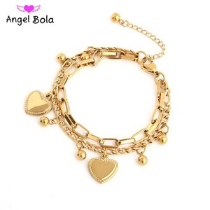 Link, Chain Stainless Steel Multi-layer Heart-shaped Women's Charm Bracelet Party Wedding Holiday Gift Luxury Jewelry Wholesale