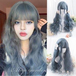 Synthetic Wigs HOUYAN Wig Female High Temperature Silk Long Curly Hair Wavy Cartoon Bangs Black brown linen Gray Cosplay Lolita