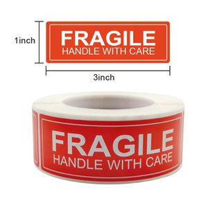 Red Fragile Warning Stickers Handle Label Carefully Remind Paper Tag 1x 3 Inch 250 Pcs roll