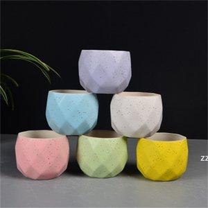 Macaroon Color Flowerpot Diamond Shape Geometric Cute Potted Plant Ceramics Flower Pot Home Decoration HWA8393