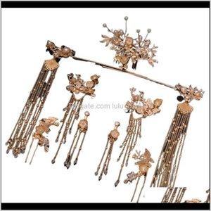Hanfu Tiara Bride Costume Hair Chinese Phoenix Crown Luxury Classical Wedding Dress Llrbh Pendant Necklaces Bjrmm