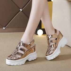 Summer Women Sandals Silver Wedge Heels Sneakers Silver Round Toe High Heels Platform White Flip-Flops Thick Bottom Sandals New Goodgoodsne