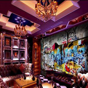 Wallpapers Drop Custom Po Wallpaper Street Rock Graffiti Bar KTV Background Wall Mural Gallery Corridor Mall