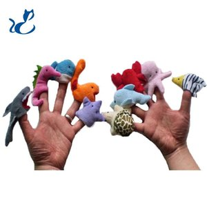 Finger Puppet Ocean Animals Plush Toy, Tell Story Props, Cute Cartoon Sharks, Turtles for Early Education, Parent& Kid Interactive, Christmas Birthday Boy& Girl Gift, 2-2