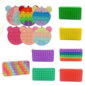 DHL 20cm Fidget Toys wallet portable decompression Push It Bubble Pencil Case Sensory Autism Special Needs Stress Reliever Squeeze Toy for Kids