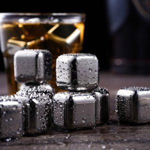 304 Stainless Steel Ice Cube Reusable Chilling Stones for Whiskey Wine Keep Your Drink Metal Ice Whiskey Red Wine Cooling OOD5572