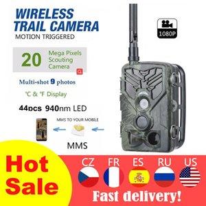 Câmaras de caça 2g trilha de câmera SMS / MMS / SMTP 16MP 1080P HC810M PO Traps 0.3S Trigger Time Trap Wildlife Equipamento