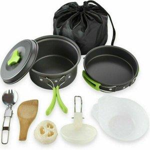 Frigideira portátil Camping Cookware Kit Ao Ar Livre Piquenique Caminhada Cozinhar Equipamento De Campo Potenciômetro De Alumínio Combinação Cooker 11pcs / Set
