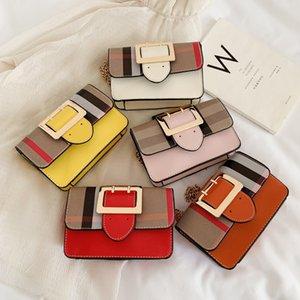 Fashion luxurys designers bag girls plaid square buckle messenger bag children single shoulder princess bag kids lattice handbag 760 V2