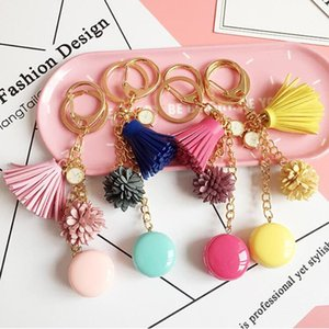 Resin Macaron Keychains Lovely Macaroon Key Chains Bag Charm Accessories Cake Macarons Tassel Keyring Gift Jewelry