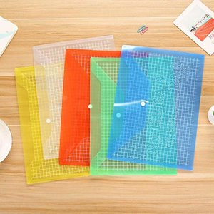 Multifunctional Color Grid Office A4 Transparent plastic advertising Archives bag PP buckle File Student Paper XKZH